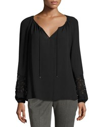 T Tahari Lace Inset Blouse Black