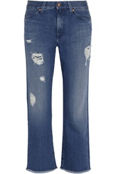 Mih Jeans The Jane Distressed Mid Rise Slim Boyfriend Jeans Blue