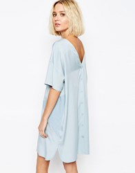 Paisie Two Tone Panel Dress With Button Back Pale Blue
