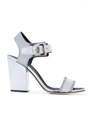 Sergio Rossi Chunky Heel Sandals Women Calf Leather Leather 37.5 Metallic