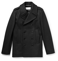 Saint Laurent Double Breasted Wool Peacoat Black