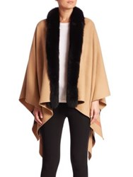 Burberry Reversible Fox Fur Trimmed Check Merino Wool Poncho Camel