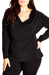 City Chic 'Back View' Drape Neck Top Plus Size Black