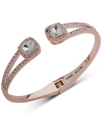 Anne Klein Crystal And Pave Hinged Bangle Bracelet Created For Macy's Rose Gold