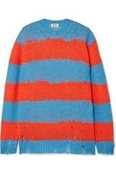Acne Studios Kantonia Distressed Striped Knitted Sweater Blue