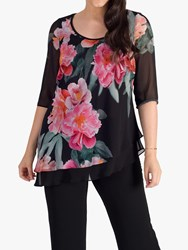 Chesca Layered Peony Chiffon Top Black Pink