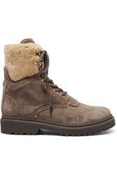 Moncler Patty Shearling Trimmed Suede Ankle Boots Sand