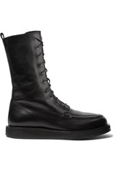 The Row Patty Lace Up Leather Ankle Boots Black
