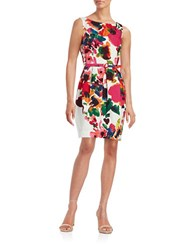 Eliza J Floral Sheath Dress White Beige