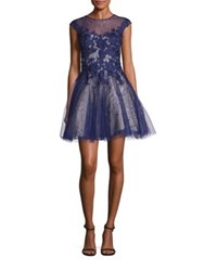 Basix Black Label Floral Lace Fit And Flare Dress Navy
