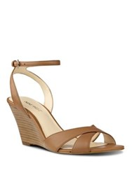 Nine West Kami Leather Wedge Sandals Dark Natural