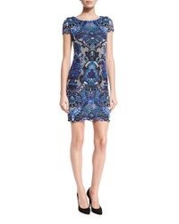 Alice Olivia Nakia Guipure Lace Short Sleeve Dress Multi