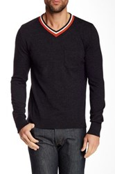 Relwen Varsity V Neck Wool Sweater Gray