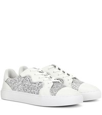 Tory Burch Milo Glitter And Leather Sneakers White