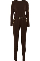 Michael Michael Kors Belted Stretch Jersey Jumpsuit Brown