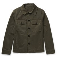 Massimo Piombo Mp Slim Fit Cotton Twill Jacket Army Green