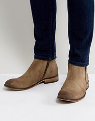 Asos Chelsea Boots In Stone Suede With Double Zip Stone