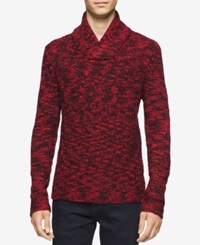 Calvin Klein Men's Asymmetric Cable Knit Shawl Collar Sweater Black Red Combo