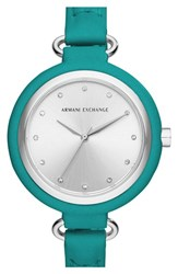 Women's Ax Armani Exchange Leather Strap Watch 38Mm Teal Silver