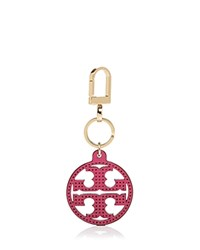 Tory Burch Perforated Logo Key Fob Hibiscus Flower Gold