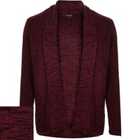 River Island Mens Dark Red Textured Open Front Cardigan