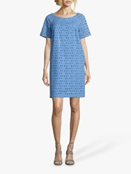 Betty Barclay Broderie Anglaise Cotton Dress Ocean Blue