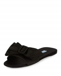 Prada Satin Bow Mule Slide Sandal Black