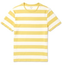 J.Crew Slim Fit Striped Cotton Jersey T Shirt Yellow