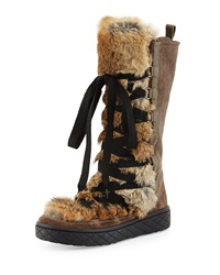 Zoelie Lace Up Fur Boot Brown Moncler