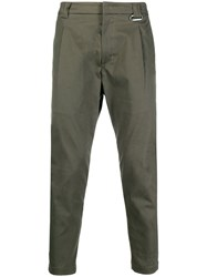 Low Brand Cropped Hook Detail Trousers Green