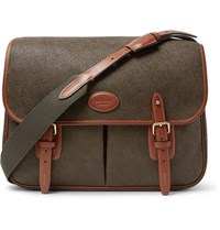 Mulberry Heritage Leather Trimmed Pebble Grain Coated Canvas Messenger Bag Army Green