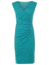 Planet Lace Shift Dress Mid Blue