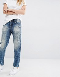 Blank Nyc Boyfriend Jeans With Distressed Raw Hem Thrift Store Blue