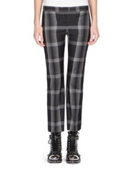 Alexander Mcqueen Kick Back Cropped Plaid Trousers Grey Black