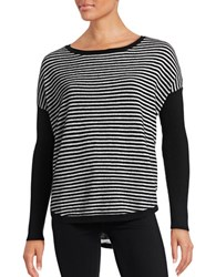 Lord And Taylor Striped Cashmere Sweater Black