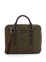 Kenneth Cole Leather Trimmed Canvas Soft Briefcase Green