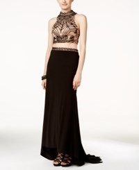 Xscape Evenings Xscape Embellished Two Piece Gown Black Nude