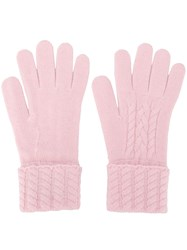 N.Peal Cable Knit Cashmere Gloves Pink