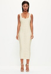 Missguided Nude Criss Cross Front Bandage Midi Dress Cream