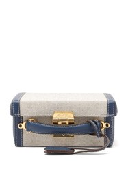 Mark Cross Grace Small Canvas And Leather Body Bag Navy Multi