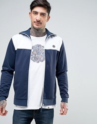 Pretty Green Edzell Tricot Track Top Slim Fit In Navy White Navy