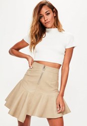 Missguided Nude Faux Leather Asymmetric Zip Detail Mini Skirt