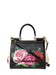 Dolce And Gabbana Small Sicily Floral Printed Leather Bag Black