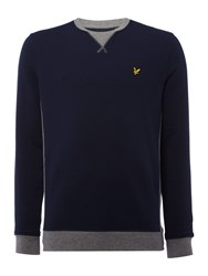 Lyle And Scott Men's Contrast Rib Crew Neck Sweatshirt Navy