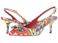 Dolce And Gabbana St. Brocade Bellucci Slingback With Swarovski Crystals Multi