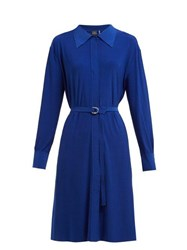 Norma Kamali Belted Jersey Shirtdress Blue