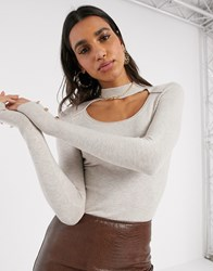 River Island Cut Out Detail Sweater In Cream