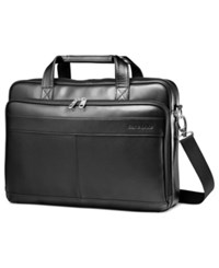 Samsonite Leather Slim Portfolio Laptop Briefcase Black