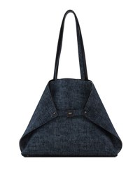Akris Ai Medium Reversible Shoulder Bag Dark Blue