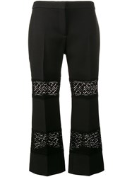 Alexander Mcqueen Lace Insert Cropped Trousers Black